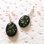 Boucles-d-Oreilles-Cabochon-Noir-Vert-Fluo-18x25