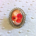 Broche-Cabochon-Fleur-Orange-Rose