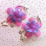 Boucles-d-Oreilles-Creole-Tissu-Fleur-Rose-Turquoise