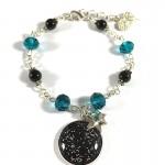 Bracelet Cabochon Noir et Turquoise Cosmic Space 2