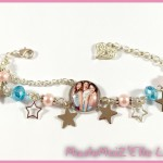 Bracelet Cabochon Violetta 4 Rose et Turquoise Stars