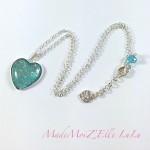 Collier Cabochon Coeur Bleu Confetti Rose Vert Argent
