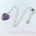 Collier Cabochon Coeur Violet Or